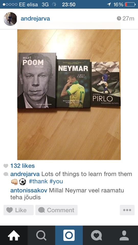 Andre Järva has been entertaining himself with football bios during the winter preseason: Mart Poom, Neymar and our Andrea Pirlo (Twitter)