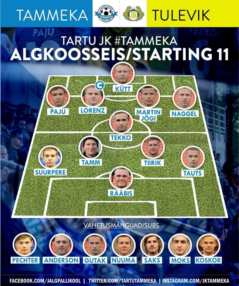 Tammeka's XI fielded against Viljandi Tulevik by coach Indrek Koser (Tammeka Facebook)