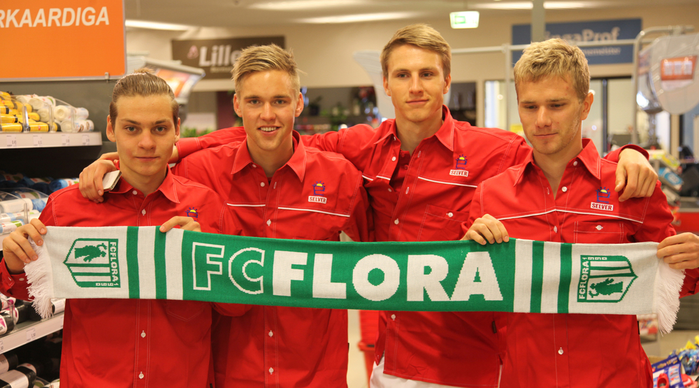 In this picture from 2014, only Markus Jürgenson (first from right) and Kevin Aloe (first from left) might make it into the XI. Brent Lepistu (second from left) is in the army and Karol Mets was sold to Norway (FC Flora Facebook)