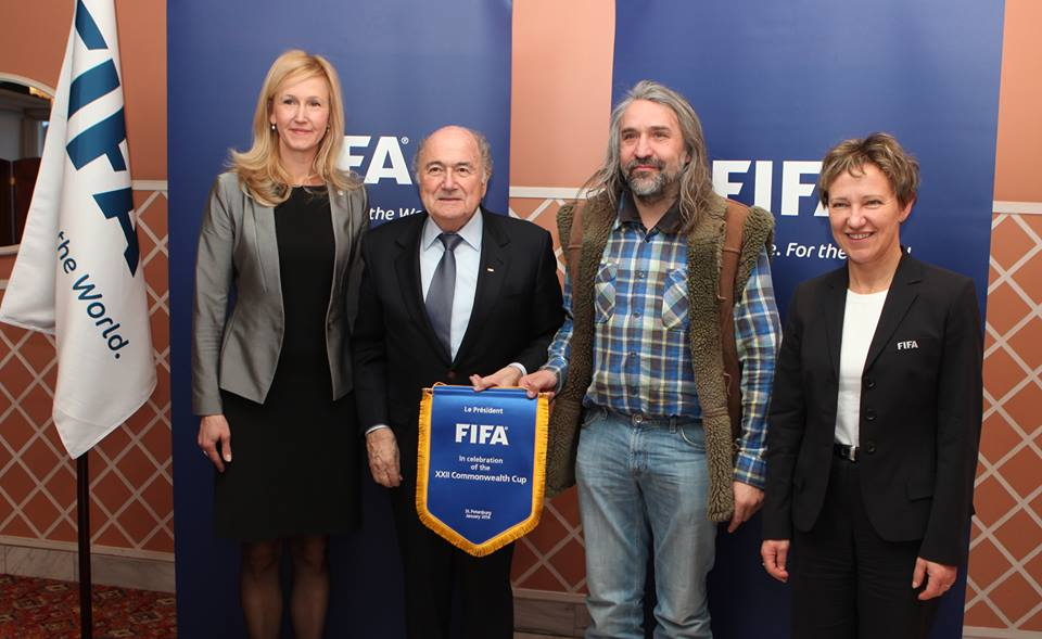 Sepp Blatter with the Estonian FA president, Aivar Pohlak, in his typical lamb vest. The FIFA president might have acted too late to tackle the TPO's.