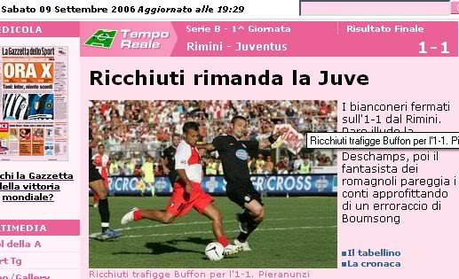 Adrian Ricchiuti earns 'La Gazzetta dello Sport' headlines as he hits the net past Buffon