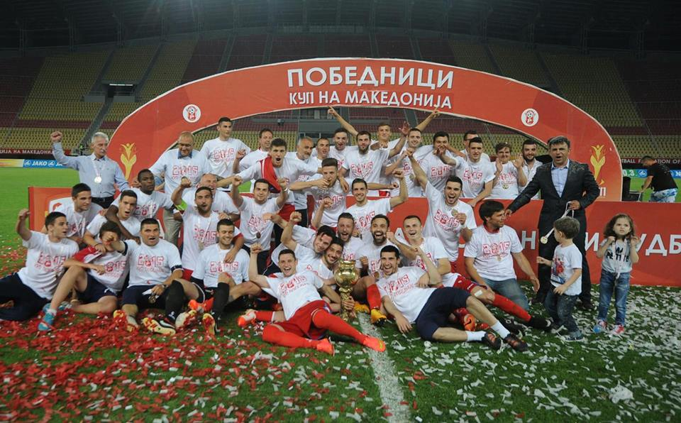 The players of Rabotnicki with the Cup title (foto: Rabotnicki FB page)