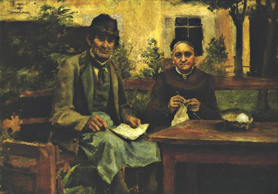 """""""Meine Eltern"""" Portrait der Gründer Alois Hofer undAnna Staffler gemalt von ihrem Sohn Gottfried Hofer."""