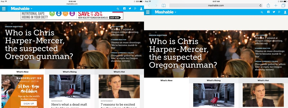 Mashable without 1Blocker (left) and with (right).
