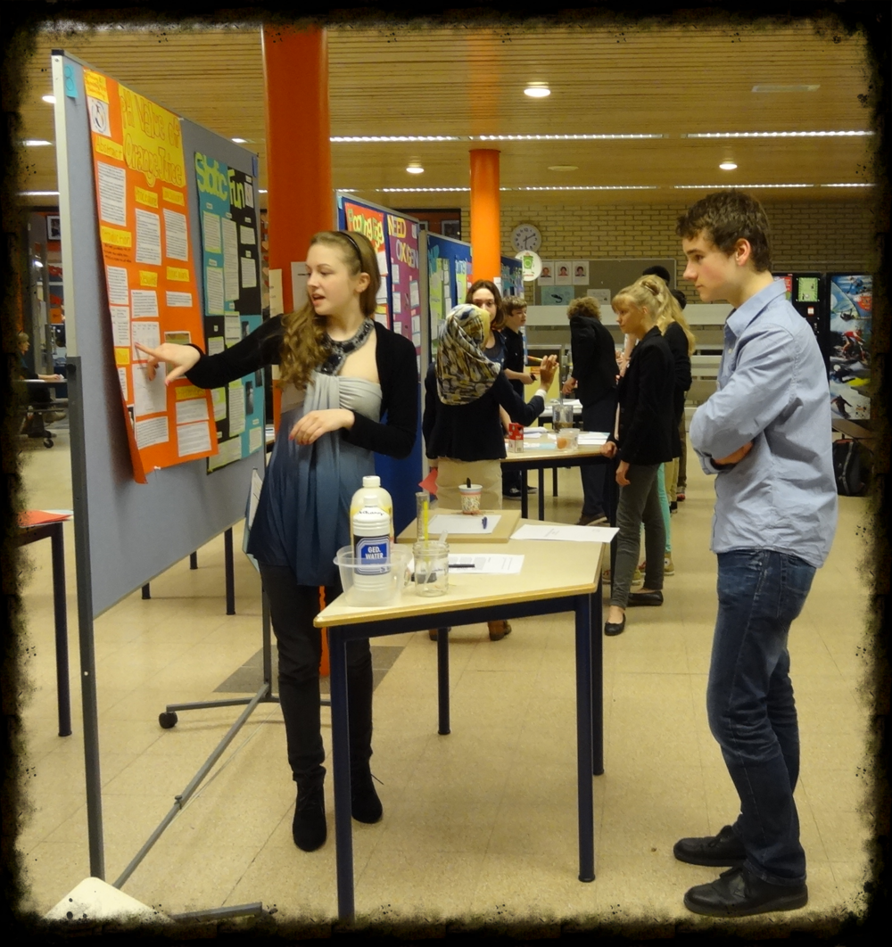 A scene from last year's science fair, which was a more traditional event in which students presented data and results from self-conducted experiments.