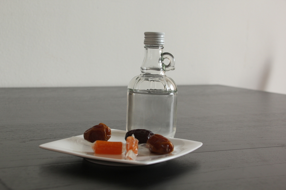 Dates, dried apricots and Holy Water.