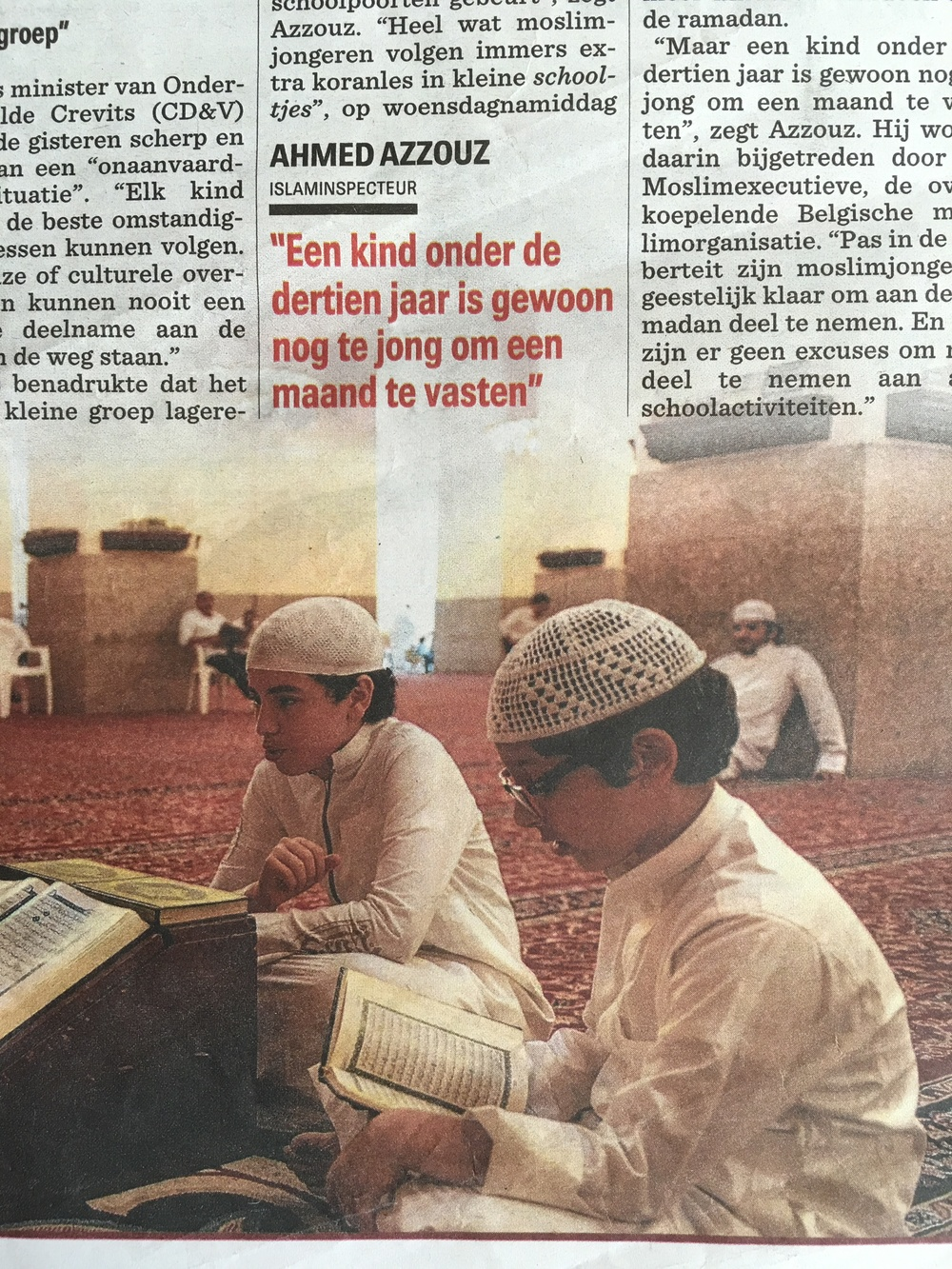 The article on the practice of Ramadan in Belgium