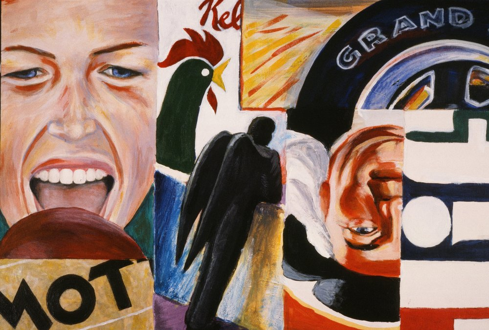 This piece is riffing on Rosenquist -- a whole collage of stuff, including the Quaker Oats guy, a J.Crew model from the catalogue, Mott's applesauce labels, Corn Flakes -- and that's kind of what I do now.