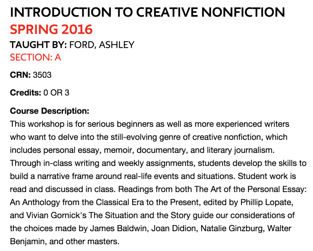 teaching ashley c ford spring 2016 i taught intro to creative nonfiction online for the new school