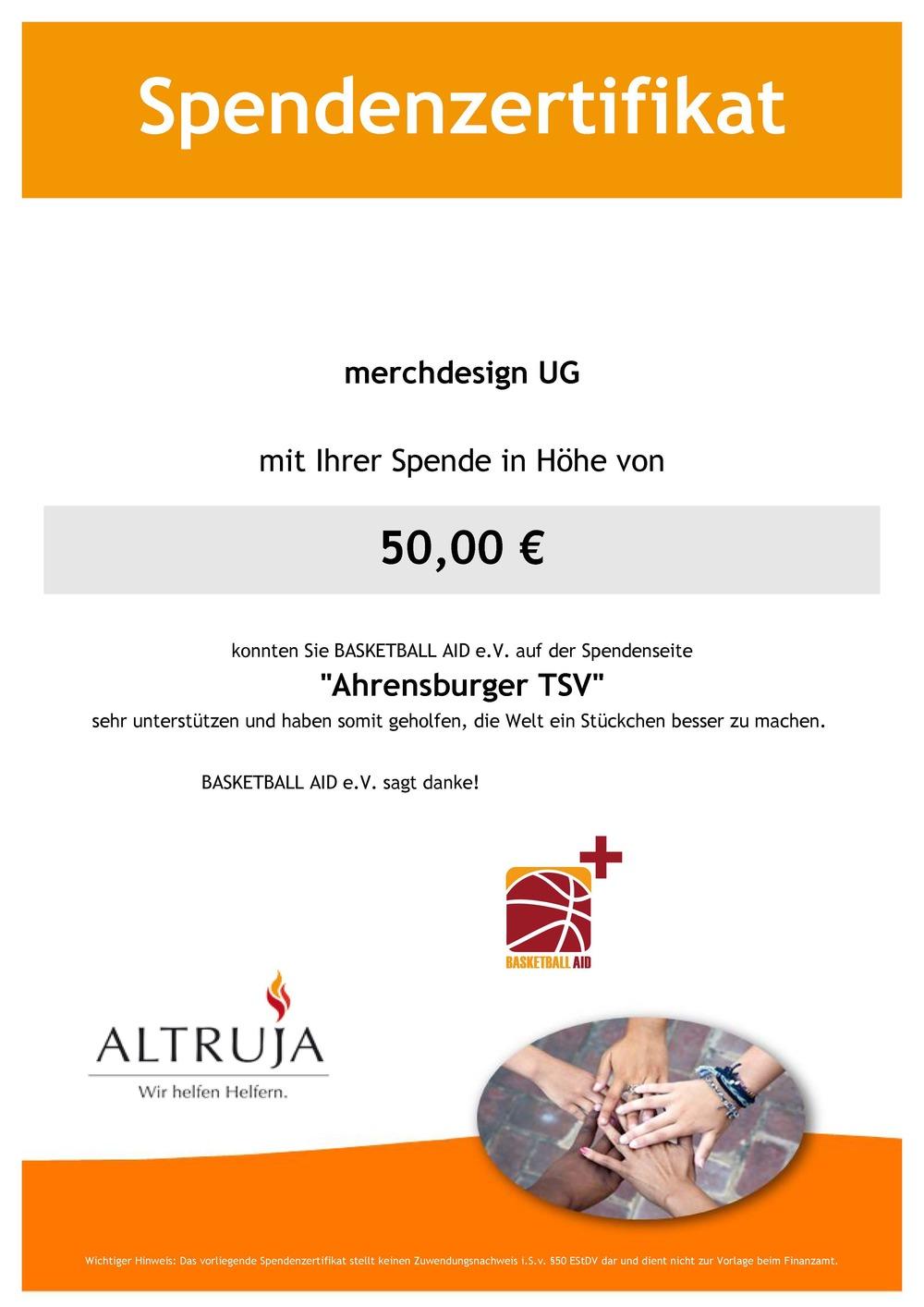 Spendenurkunde Basketball AID