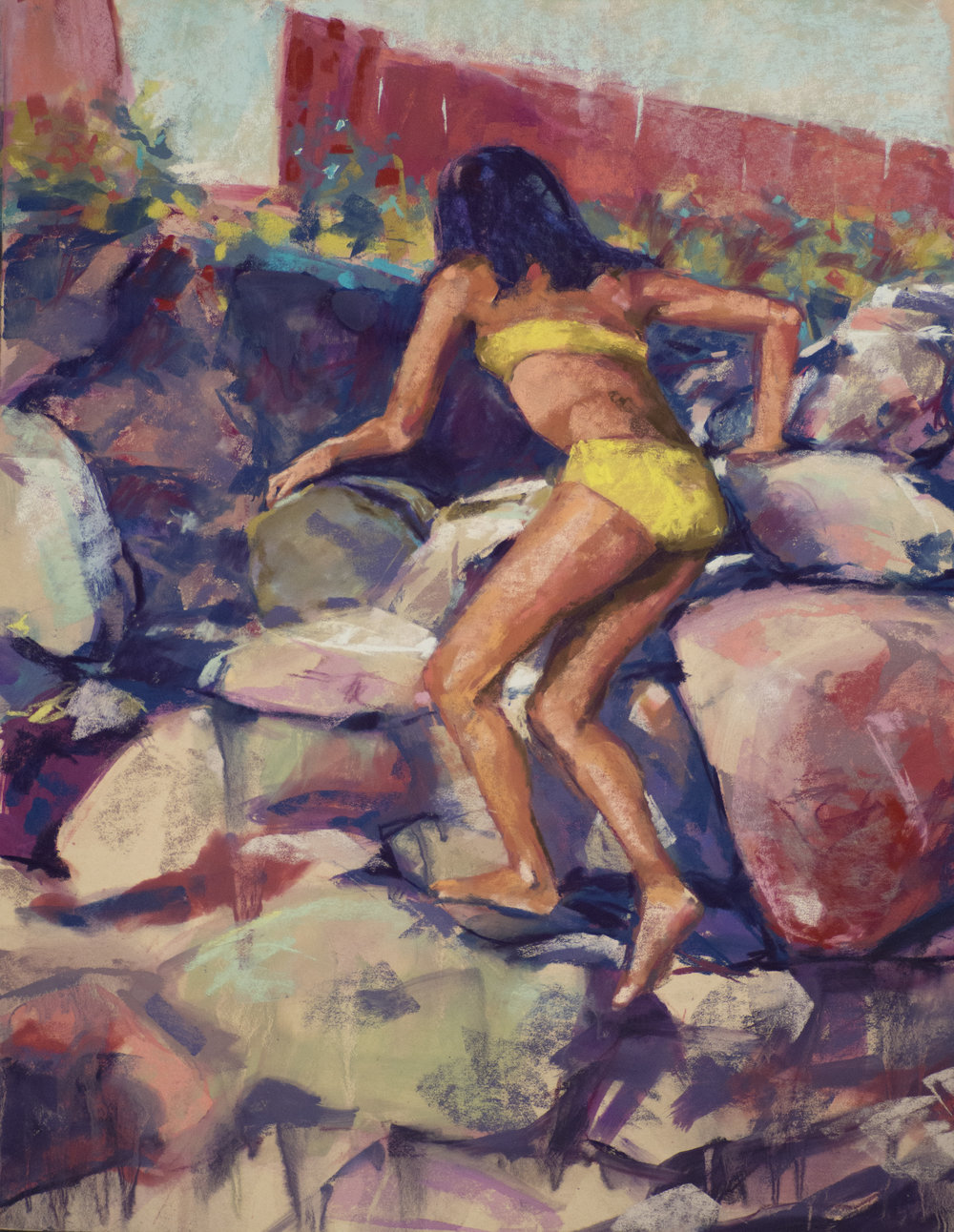 Climb                    pastel over watercolor           22 x 28