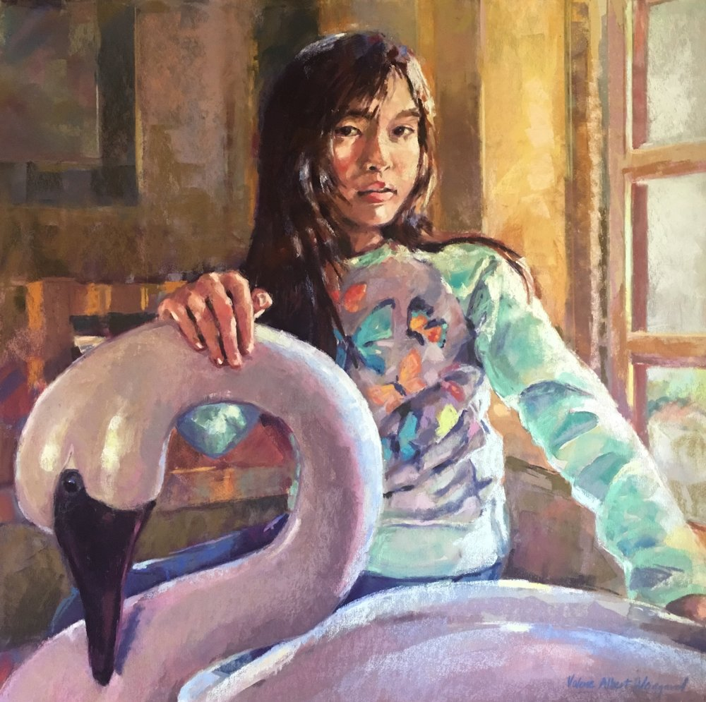 Tame the Swan                 pastel over watercolor                             24 x 24
