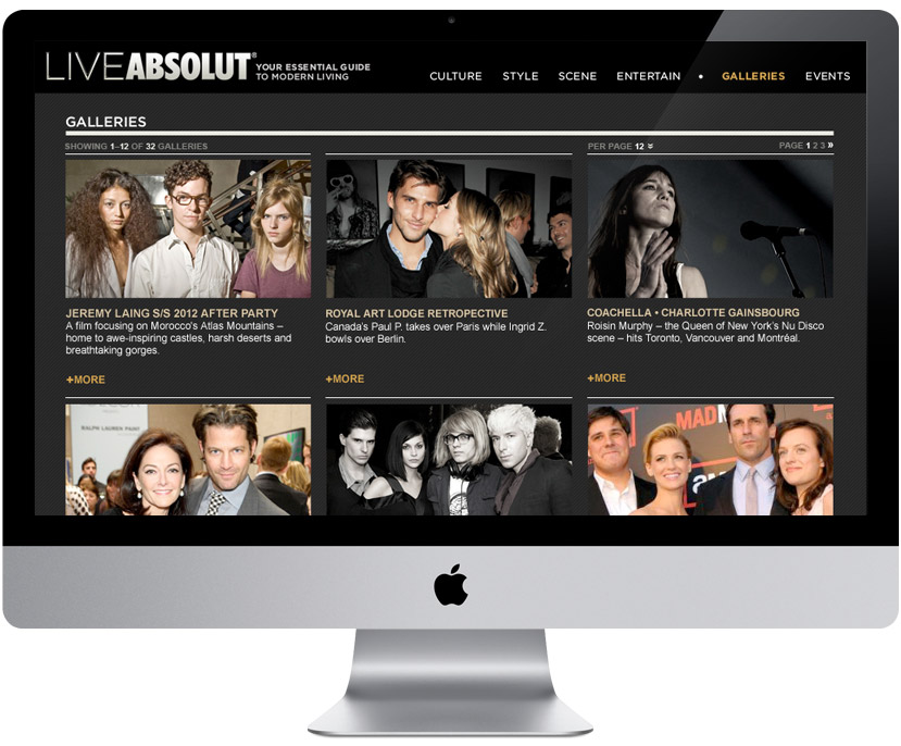 LIVEABSOLUT lifestyle microsite — gallery landing page