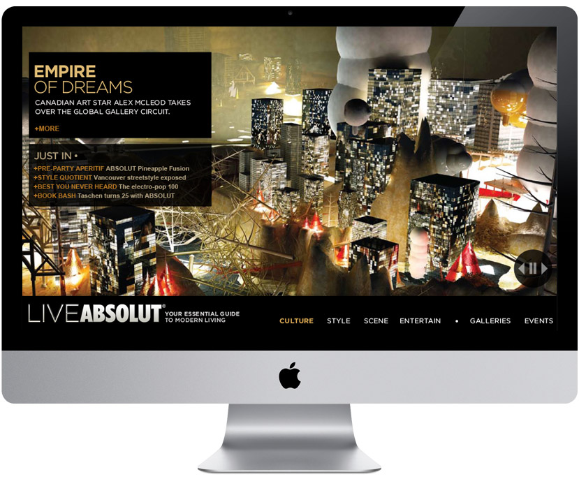 LIVEABSOLUT lifestyle microsite — homepage