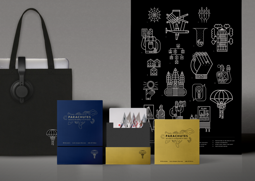 PARACHUTES — Packaging, poster and tote