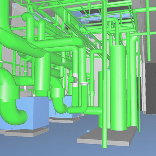 Boiler room scanned and modeled for clash detection