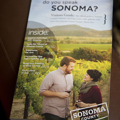 Kristen & Kyle featured on the cover of the Sonoma County Visitor's Guide