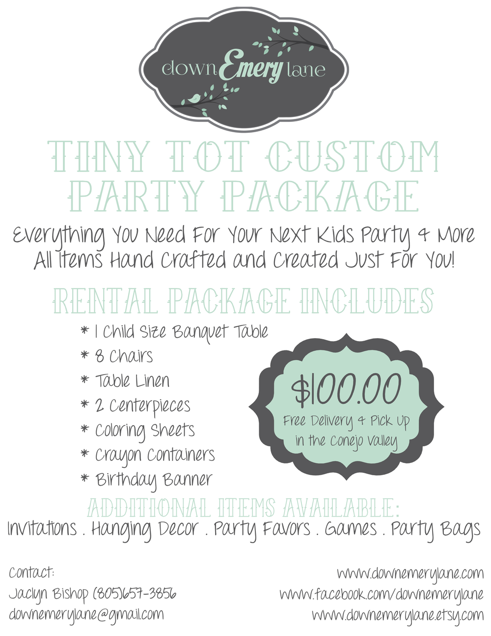 Tiny Tot Party Rental Packages Down Emery Lane
