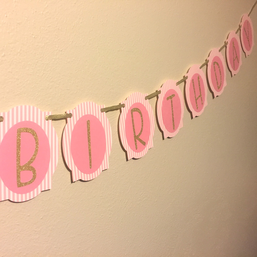 blush gold 30th birthday banner