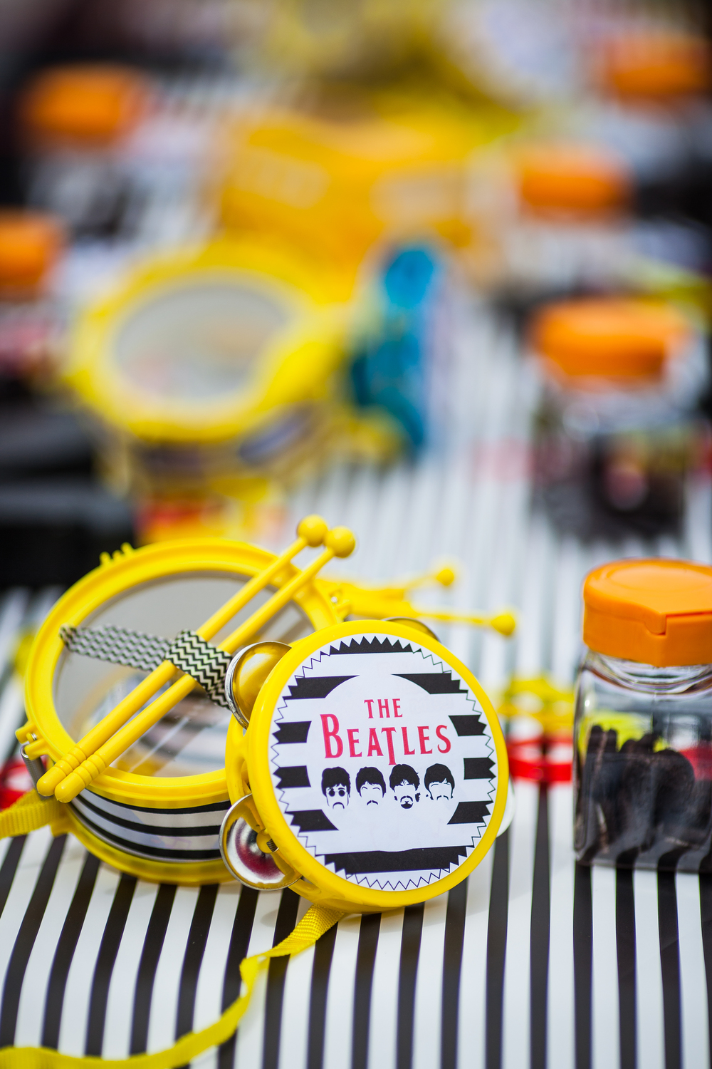 Beatles Bash Black & White Stripe Drums
