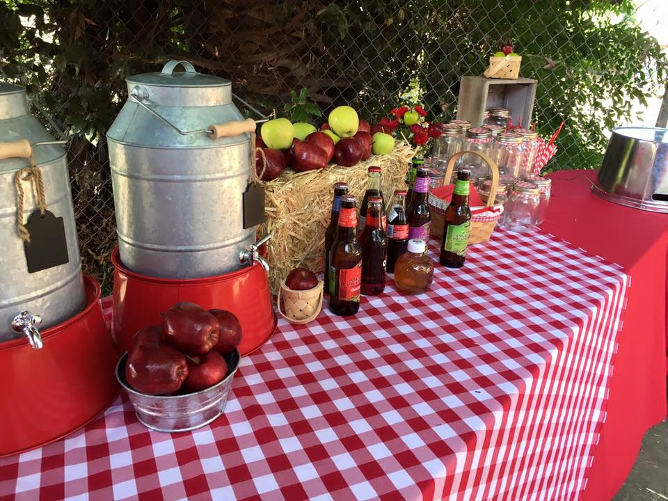 Drink station featured various types of Apple Beer for the adult guests.