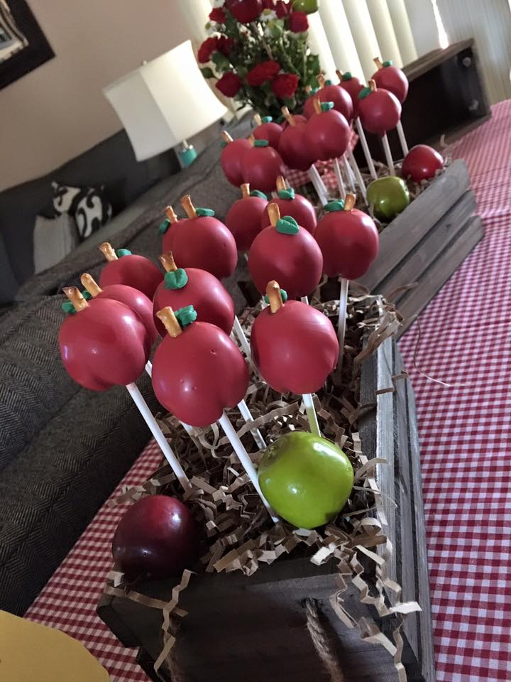 Apple Orchard Party by Down Emery Lane. Cake Pops by Just a Bite Creations