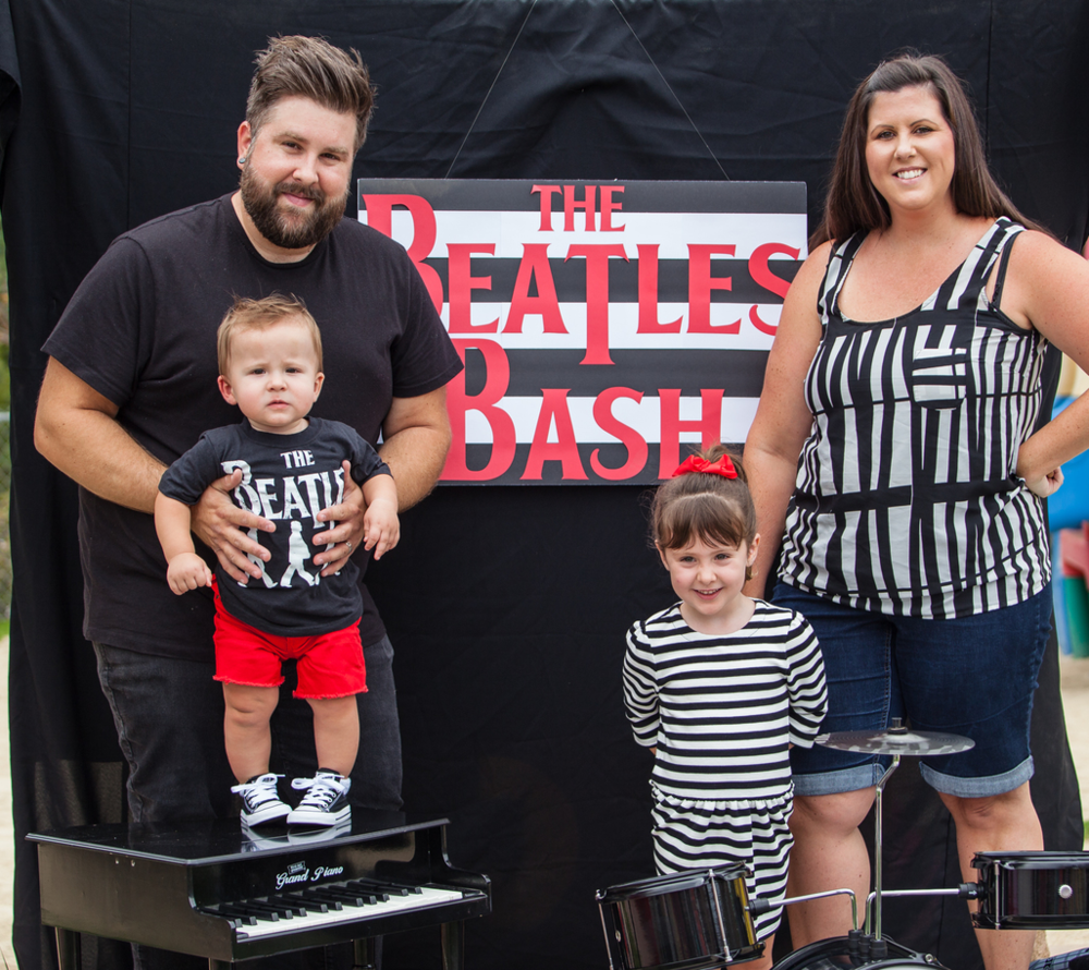 Aaron, Jaclyn, Emery and Easton Bishop at the Beatles Bash 09/2015