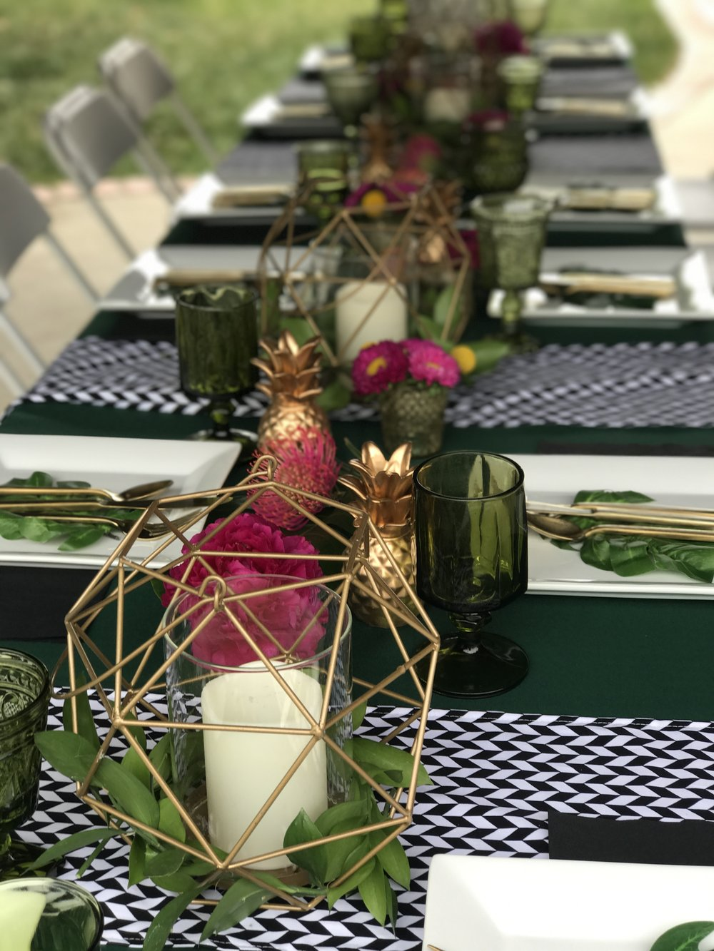 The amazing green goblets and gold flatware were provided by  Party Pleasers  in Camarillo. All other items were provided by Down Emery Lane.