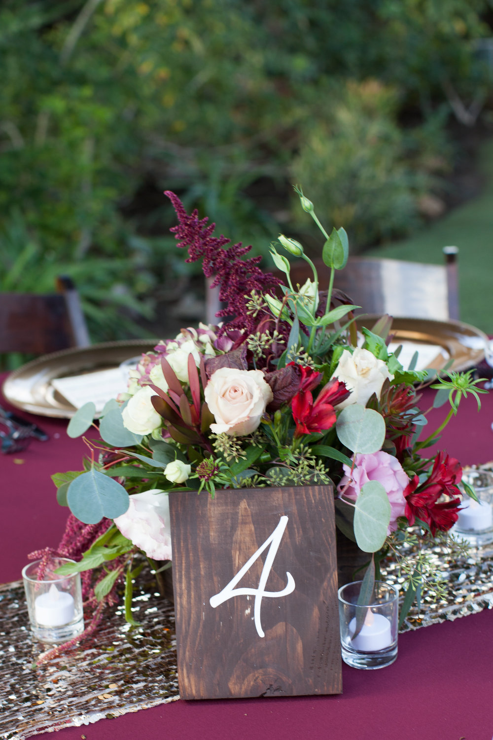 Burgundy and blush wooden box centerpieces by Down Emery Lane.