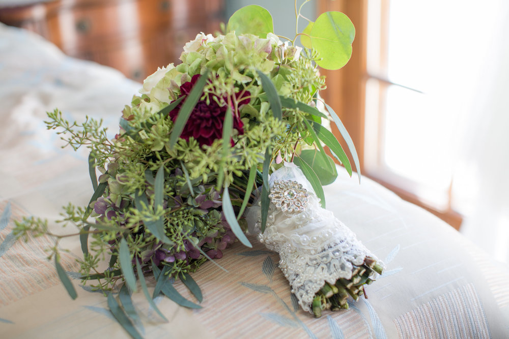 Bridal Bouquet wrapped in lace by Down Emery Lane.