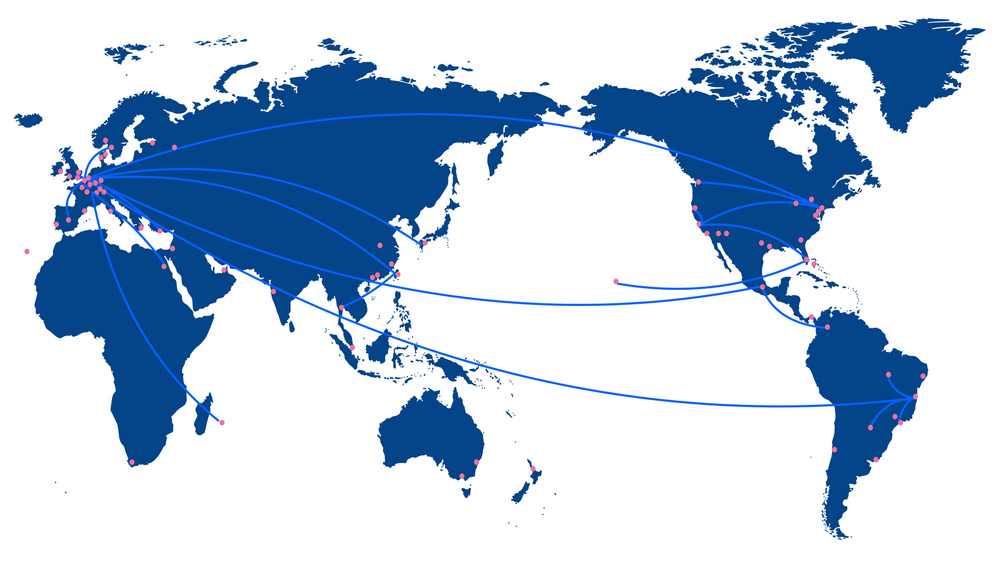 The blue lines indicate the trail of Harry'scareer. The pink dots show the places Harry's work has been collected.