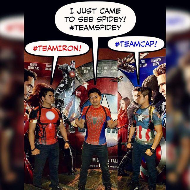 Which one are you??? Lol 😂 #captainamericacivilwar #civilwar #TeamIron #TeamCap #TeamIronMan #TeamSpidey #ironman #captainamerica #spiderman