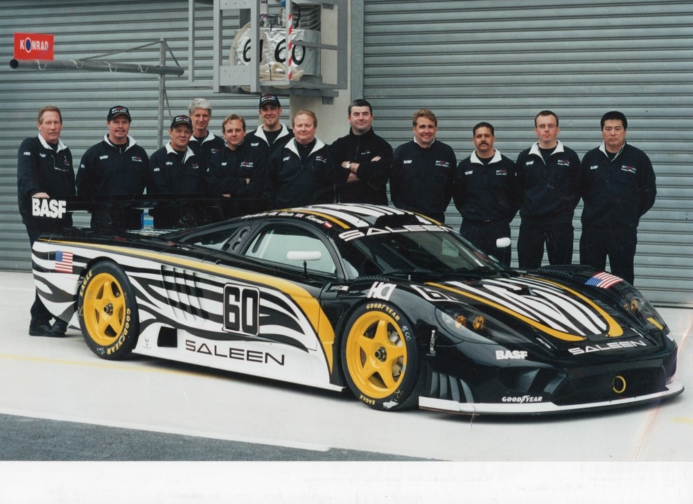 Randy and the race team with the first S7R, Randy on the far left.