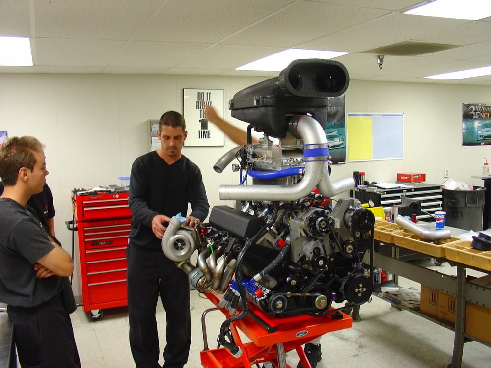 JR Kreuger (left) and Matt Wright (right), laying out the first 750hp Saleen S7 Engine.  This was the highest hp street legal engine at the time (2004)