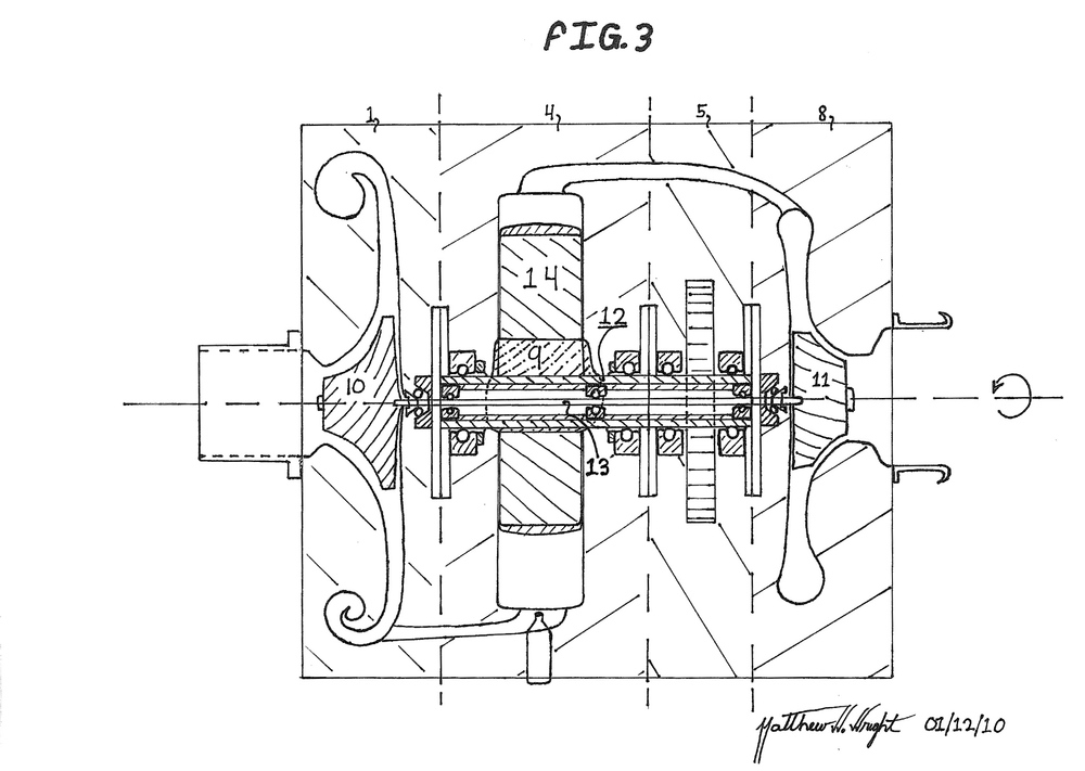 Hand drawing of CATRE cross section, from original Patent Submission