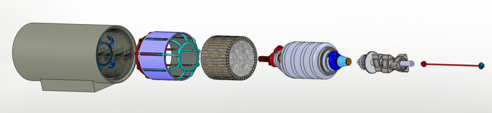 CATRE-IO: Exploded view showing the major assemblies from left to right: Nacel, Rotor (e-machine), Stator (e-machine), Engine Housing Assembly, Rotating Combustion & Power Transmission Assembly, Rotating Turbo-Machinary Assembly
