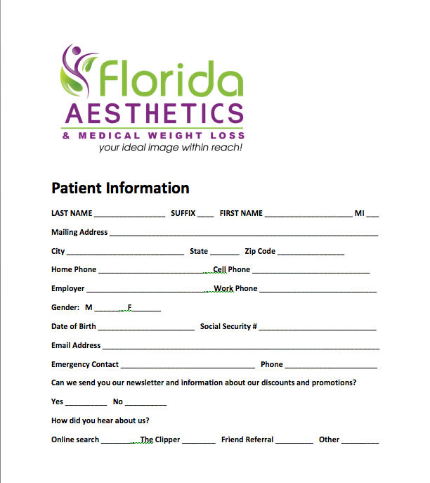 Florida Aesthetics and Medical Weight Loss Patient Intake Form