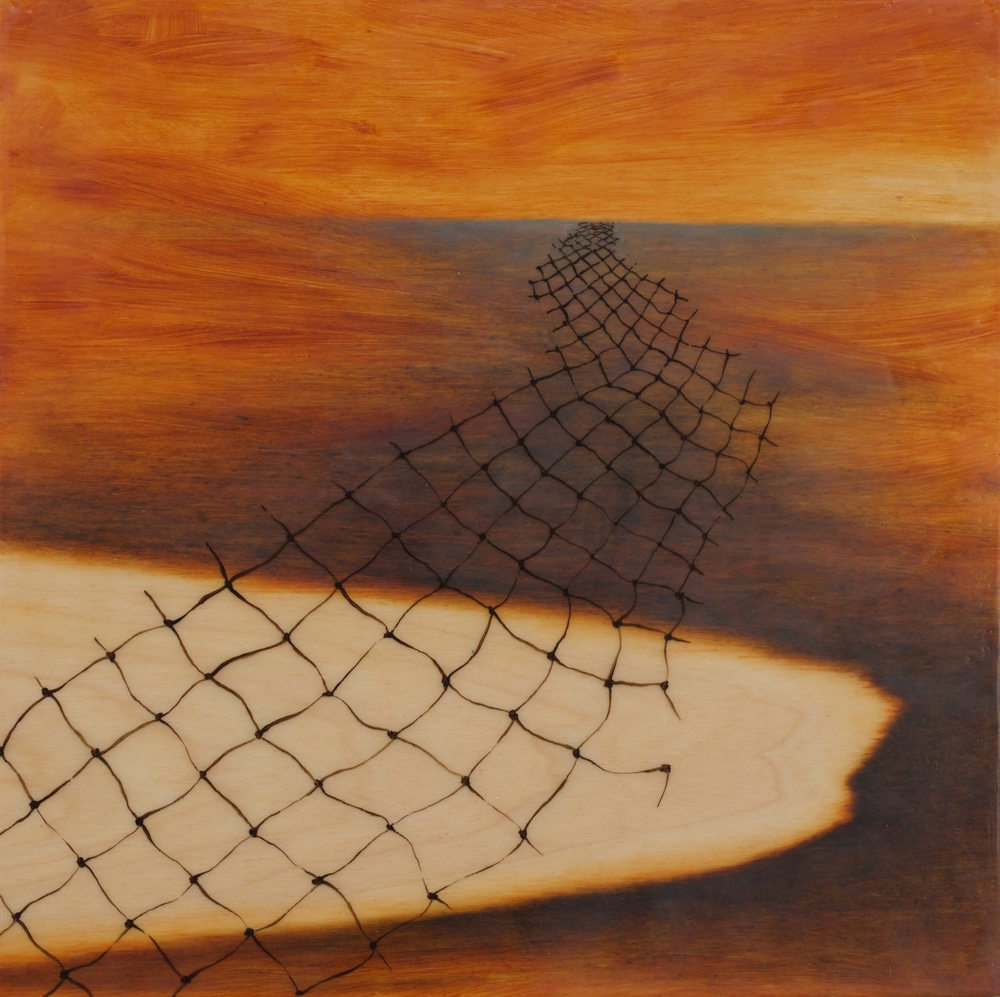 """Fishing for Water"" - oil & encaustic on wood panel, 12"" x 12"""