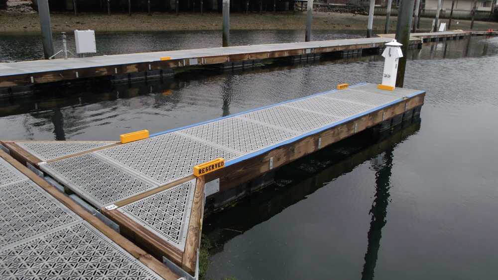 Narrows Marina in Tacoma, WA New Dock Project. Using Xccent Steel Dek Eco Series Decking. Click on the above picture to view more photos.
