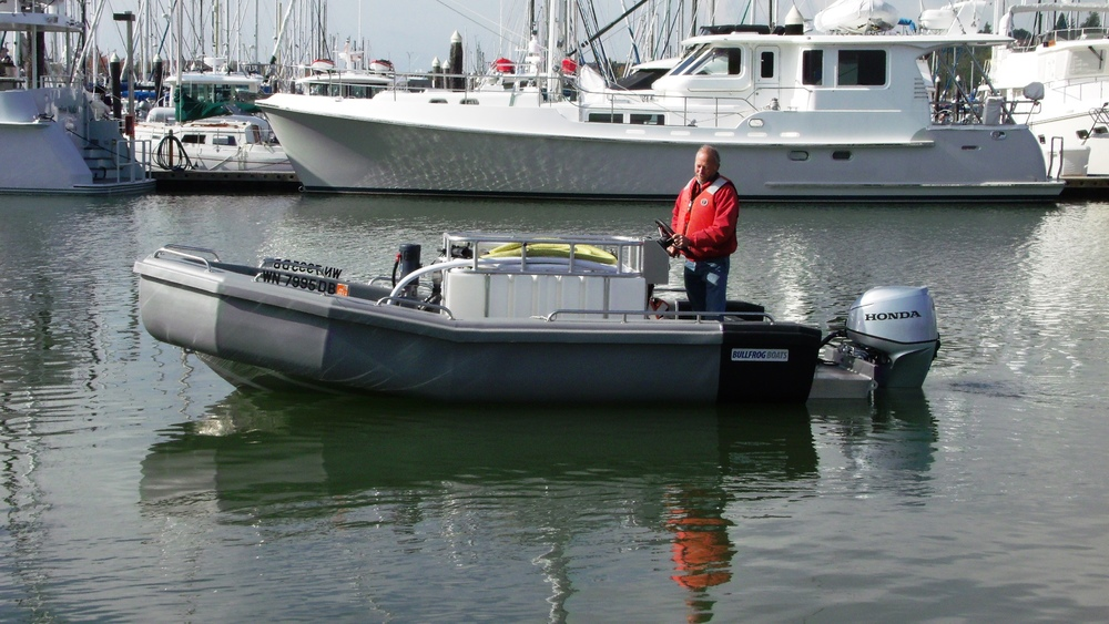 Greater Victoria Harbour Authority in Victoria, BC on Vancouver Island, took delivery of the 17' Bullfrog Pump Out Boat.   Click on the above picture to view more photos.
