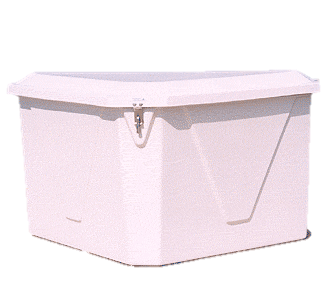 Dock Boxes: Fiberglass, Triangle, Rectangle and Upright.