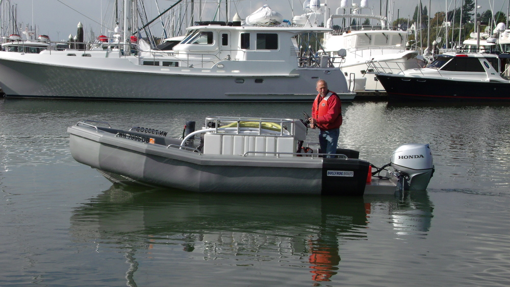 Greater Victoria Harbour Authority Victoria, B.C. takes delivery of the newly designed Bullfrog Pump Out Boat. 240 Gallon Holding Tank with an Edson Dual Diaphragm 12 Volt Motor. Check our Website for more Details.