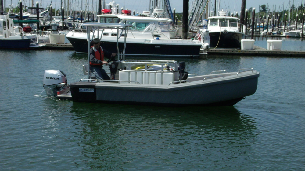 Ice Harbor Marina Purchased the Bullfrog with the optional Accessories which included the T-Top, Leaning Post/Bench, Bottom Paint, Vee Storage Box and HD Double Axle Trailer. Complete Cost Just Under $58,000.00