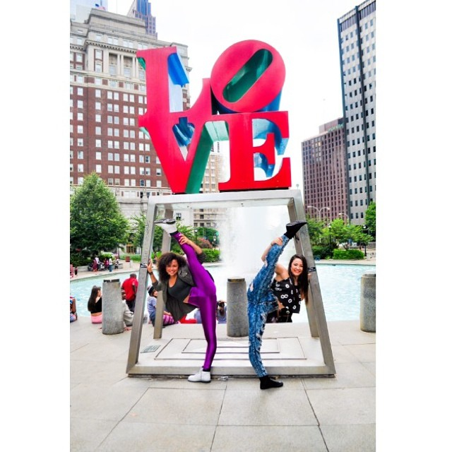 #BOTK Sisters @_joannmariee & @rubypappan saying goodbye to #PHILLY #flexin at the Love Sign