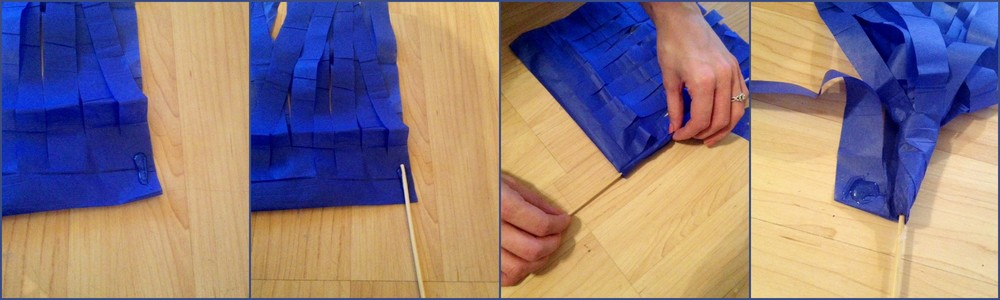 Step 3: Place some super glue at the start of your pom poms. Then place top of your wooden stick on top of the glue. Then start to roll up your paper to the end. Adding some glue along the way if your chose. Once you get near the end add some final glue.