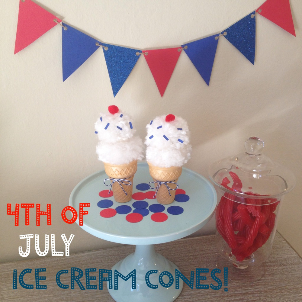 4th of July DIY Ice Cream Cones, great craft for the kids! A little red, white, & blue fun decor that will never melt!