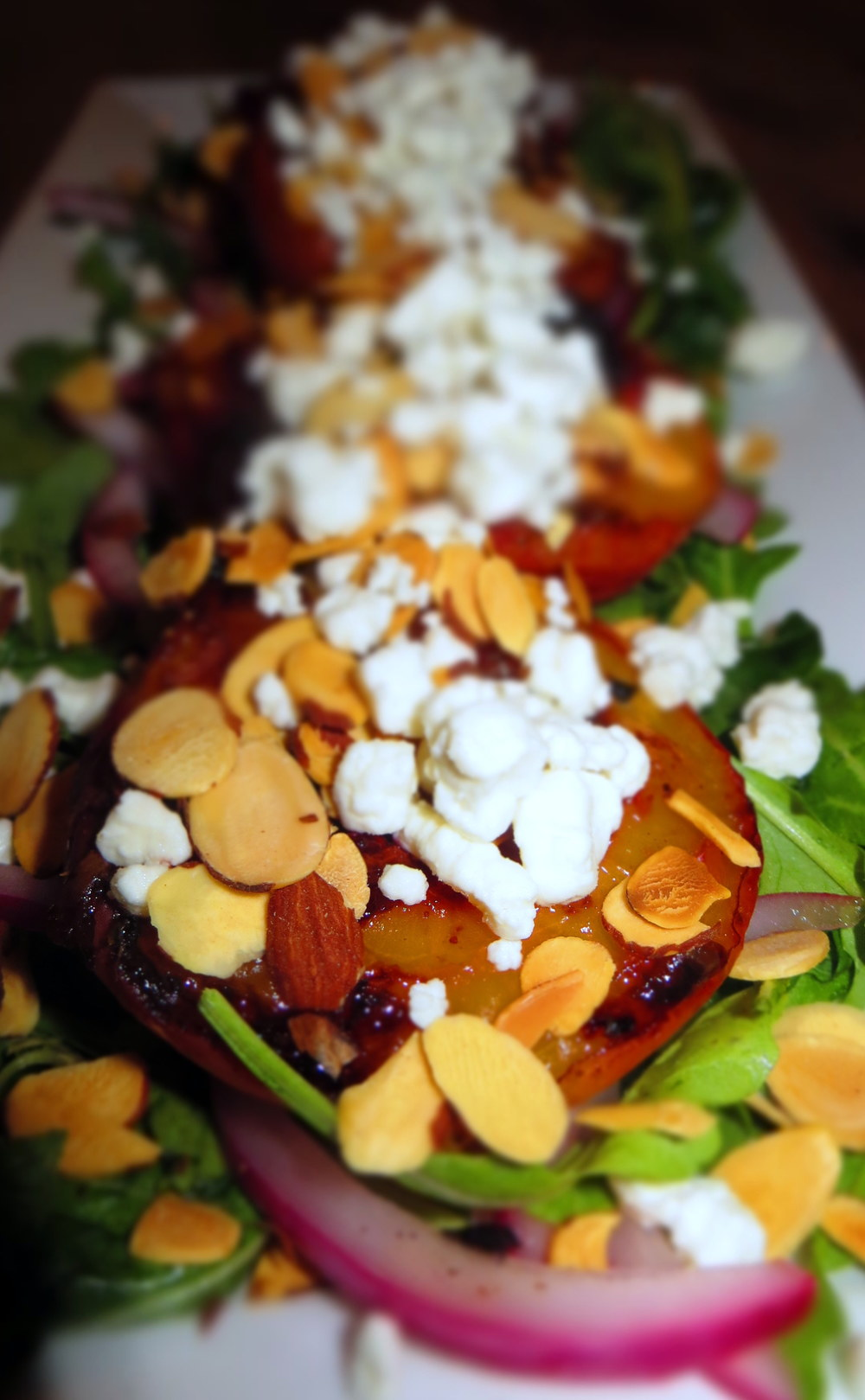 Basalmic, Grilled Nectarine, Arugula, Goat Cheese Salad Topped Off with Almond Silvers - Food by Lt!