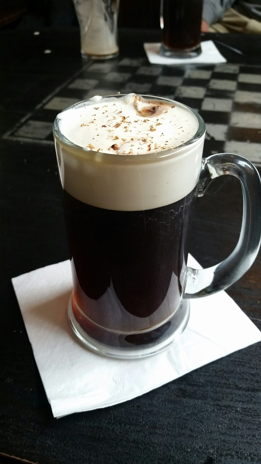 Irish coffee topped with real heavy cream and chocolate bitters. Perfection on a rainy day.
