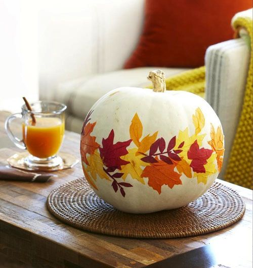 Modpoge Leaves Pumpkin - No Carve Pumpkin Ideas from Parties by Lt
