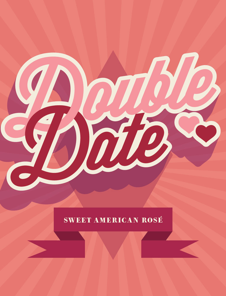 "Double Date Sweet Rosé - ""Born in the USA - our sweet 'blush' is so unique, you won't find it anywhere but Traveling Vineyard. Pair this American beauty with date night in - and seal it with a kiss.""""This Finger Lakes Region sweet rosé is our proprietary blend of hybrid varietals local to the area and traditional grapes like Chardonnay, Pinot Grigio and Riesling. Its pink color reflects as cheerful as a warm summer day. A slightly nutty component on the nose and bright fruit flavors of watermelon and red berry in the mouth make it pure sweet summer in a glass!"""
